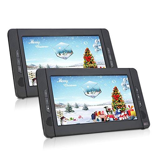 Lettore dvd portatile auto poggiatesta 10.1 pollici doppio schermo, gioca circa 5 ore, lettore dvd regione free, facile da usare, cambiare i dischi semplice,porta hdmi, contene la staffa per auto