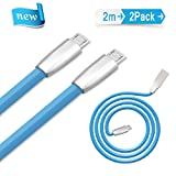 Ulinek Micro USB Kabel 2m 2Pack Ladekabel Datenkabel, Lebenslange Garantie, Anschluss mit Zinklegierung für Samsung Huawei HTC Xiaomi Sony LG Android Smartphones und Mehr (Blau)