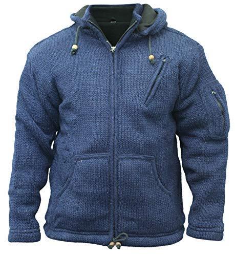 Shopoholic Fashion Hombre Desmontable con Capucha Hippie Chaqueta - Azul, XL