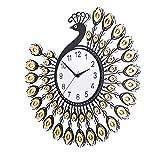 Vinteen Pfau Wanduhr Kreative Europäische Stil Uhr Wohnzimmer Stumm Mode Quarzuhr Moderne Einfache Taschenuhr Kristall Zeitmesser (Color : A- Auspicious Wishful, Größe : 48CM)