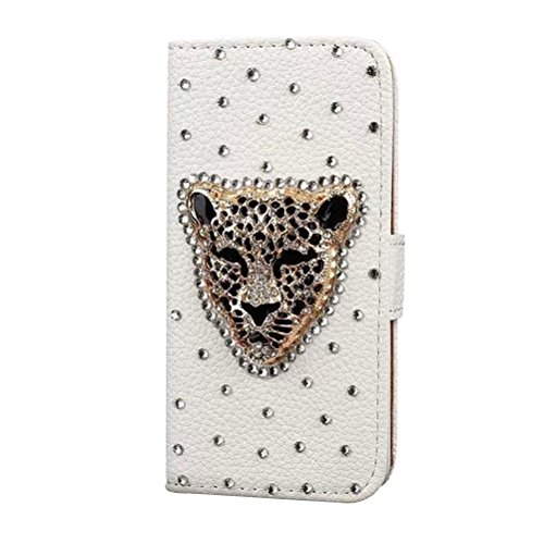 iPhone 6 Plus for GirlsCasefirstWallet Handyhülle Strass Muster PU Ledertasche, Ultra dünner Schlag Schutzhülle mit Kartensteckplatz und Funktion Stoßfest Staubschutzhülle Flip Standabdeckung Brieftasche Kartenhalter Magnetverschluss - Cheetah Strass Cheetah