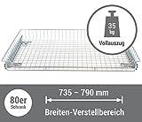 Korbauszug 35kg – silber – 800/80, Schrankauszug Teleskopschublade für 80er Schrank
