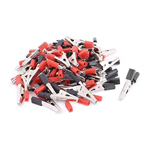 DealMux 50pcs 55mm Lang Rot Schwarz Insulated Autobatterietest Crocodile Alligator Clamp