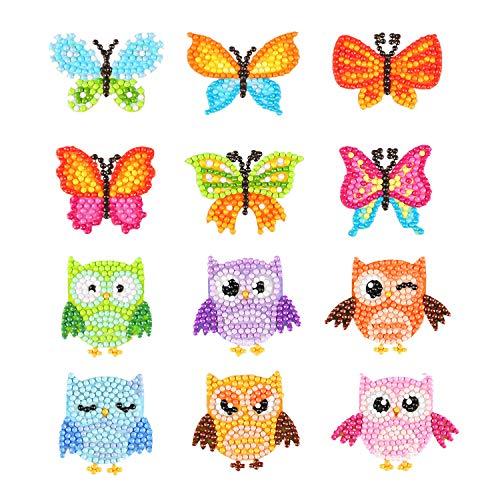 Phogary 5D Diamant Malerei Kits für Kinder, 12 STÜCKE Eule & Schmetterling Muster DIY Kunst und Handwerk Kits für Kinder Aufkleber Farbe mit Diamanten nach Zahlen