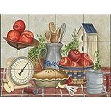 Pastel de manzana de mamá por Mary Lou Troutman   Mural de azulejos para la cocina protector de salpicaduras contraindicaciones   Cuarto de baño de Pared de azulejos