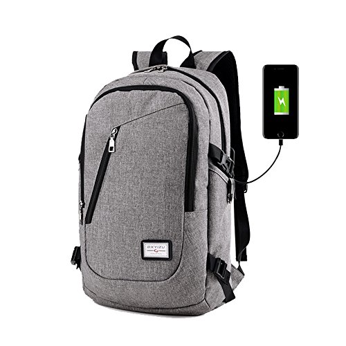 Business Laptop Backpack with a Combination Lock 15.6 Inch College Backpacks with USB Charging Port Anti-theft Lightweight Travel Bag for Men & Women (Gray)