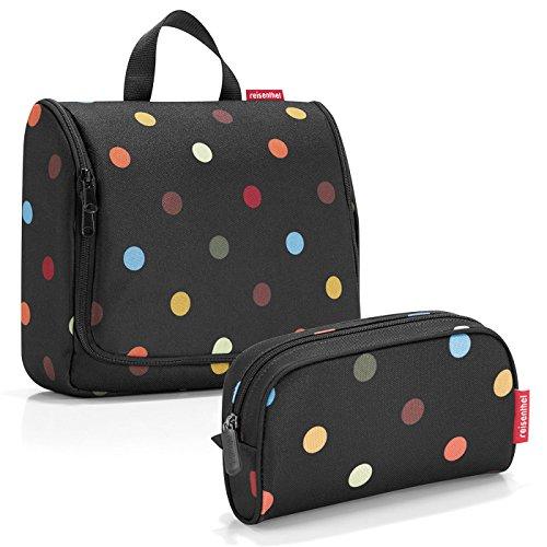 reisenthel Exklusiv-Set: toiletbag XL 28x25x10cm große Kulturtasche zum aufhängen aufklappbar + GRATIS makeupcase - dots (Bunte Punkte) Polka Set