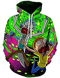 RQ&Clothing Unisex Moda 3D Sudaderas Impresas Rick y un Morty Sudadera con Capucha Jersey gráfico Sudaderas