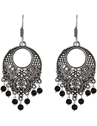 Subharpit Ethnic Black Oxidised Silver Traditional Dangle & Drop Earrings For Women & Girls(SUBHER417)