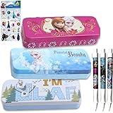 Disney Frozen–Estuche escolar para niños–Juego de 3Lata de Frozen lápiz/bolígrafo estilos de casos en 2Fun (con Elsa, Ana y Olaf), 3rotuladores de punta de bola y pegatinas de Frozen, B? roartikel