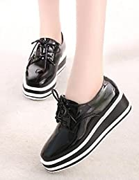 NJX/ Zapatos de mujer-Tacón Plano-Comfort-Oxfords-Casual-Cuero-Negro / Azul / Marrón / Rosa / Blanco / Beige , blue-us8 / eu39 / uk6 / cn39 , blue-us8 / eu39 / uk6 / cn39