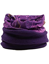 Multifunctional snood for women - scarf, hat, neck warmer, hood with fleece section (Purple mauve)