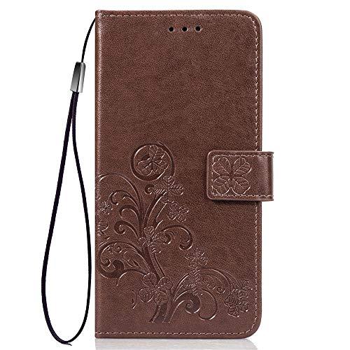 LNLYY Echt Leder Geldbörse Flip Folio Kartenfächer Schutzhülle für Samsung Galaxy ON5/O5/G550 Hülle Braun