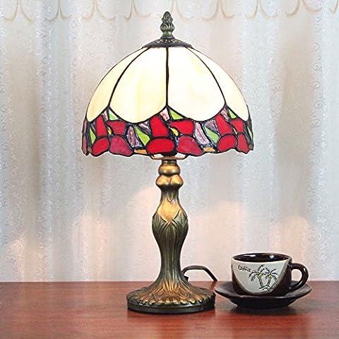 Lampe Tiffany - 8 pouces style blanc et fleur rouge