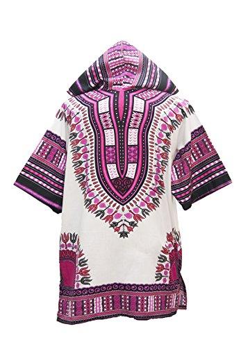 Lofbaz Unisex Dashiki Traditionelles Oberteil mit afrikanischem Druck Design #1 Weiß und Dunkelrosa