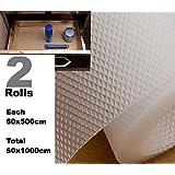 Premium Multipurpose Textured Super Strong Anti-Slip Anti-Skid Eva Mat Liner - Size 60x1000Cm (2 Rolls Of 5 Meters) - White/Transparent
