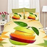 155x200 3D Bettwäsche Bettbezüge Bettwäschegarnituren Bettwäscheset Microfaser 4tlg schöne Farben und Muster Apfel Orange Obst FPP 22