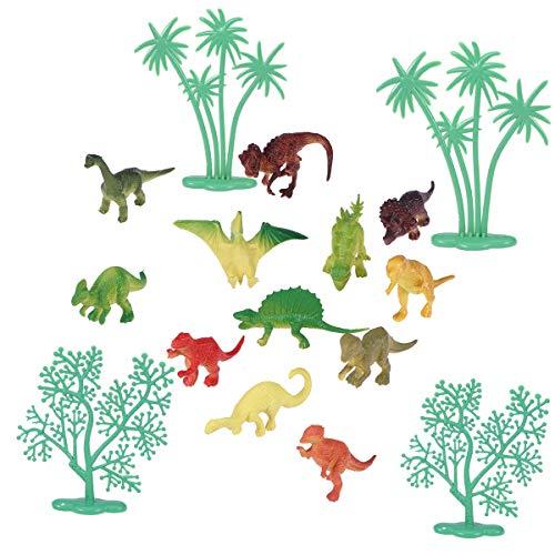 Amosfun Dinosaurier-Kuchendekoration, Dinosaurier-Motiv, zum Basteln, für Partys, 16 Stück