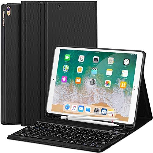 Earto Tastatur Hülle kompatibel mit IPad Pro 10,5 Zoll 2017& iPad Air 3 Gen. 10,5 Zoll 2019 Magnetische Abnehmbare Tastatur -Ultra Dünnes PU-Leder Standfunktion QWERTZ Layout (Apple Ipad Air Tastatur)