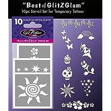 """Kit de plantillas para tatuajes temporales: """"Lo mejor de GlitZGlam"""" Tatuajes para niños, adolescentes y adultos"""