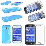 ebestStar - kompatibel Samsung Galaxy Ace 4 Hülle SM-G357FZ TPU S-line Style Silikongel Handyhülle, Schutzhülle Case Cover, Blau + Panzerglas Schutzfolie [Phone: 121.4 x 62.9 x 10.8mm, 4.0'']