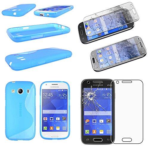 ebestStar - Compatibile Cover Samsung Ace 4 Galaxy SM-G357FZ Custodia Protezione S-Line Design Silicone Gel TPU Morbida e Sottile, Blu +Pellicola Vetro Temperato [Apparecchio: 121.4x62.9x10.8mm 4.0']