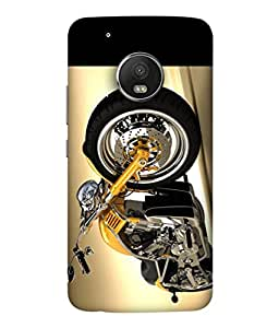 PrintVisa Classic Golden Bike 3D Hard Polycarbonate Designer Back Case Cover for Moto G5 Plus