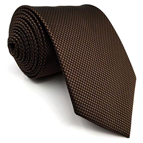 Shlax&Wing Hombre Traje De Negocios Seda Corbatas Para Marrón Color Sólido Extra largo