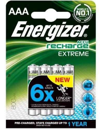 Galleria fotografica Energizer, batterie ricaricabili formato mini stilo AAA, 800 mAh, confezione da 4 pezzi