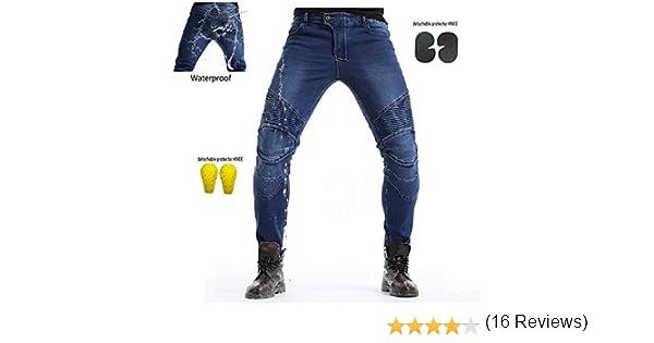 Protection Moto Pantalon Jeans Pantalon d/Équitation avec Prot/éger Pads Bleu Waist 38.5 XXL-