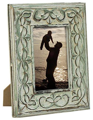 WINTER Angebot des Tages - SouvNear Holz Bilderrahmen fur 10x15, 15x10 cm Fotos Größe Antik Foto Rahmen fur Heim Deko Zubehör / Schäbig Schick Dekor - Horizontale oder vertikale, Grün Getünchten Winter-hochzeits-dekor