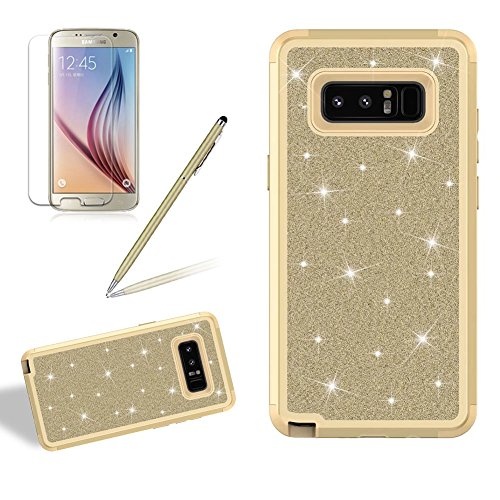 Coque Galaxy Note 8 Brillant Solide, Girlyard Housse Etui de Protection en Plastiques Dur 3 in 1 Anti choc Cover Case Bling Glitter Etoile Paillette Strass Diamant pour Samsung Galaxy Note 8 - Or Clair