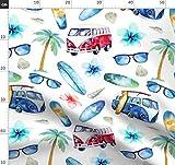 Surfen, Strand, Wasserfarben, Hibiskus, Palme, Sommer