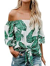 DOGZI Blusa Hombros Descubiertos Mujer Blusas para Mujer Verano Camisa de Manga Corta con Estampado de