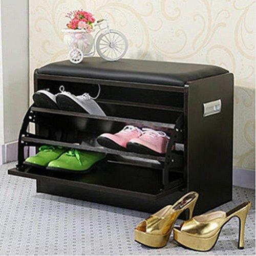 Negro deluxe zapato otomano asiento de almacenamie the best Amazon ...