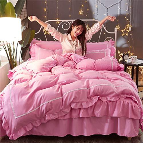 yaonuli Vierteiliges Bettlaken Winter-Herbst-Bettwäsche aus idyllischer Baumwolle, frisches rosa, weiches 1,8 m langes Bett