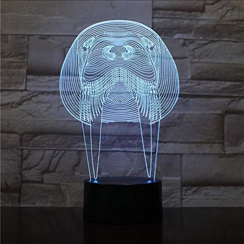Nachtlichter Schlummerleuchten Tier Manatee Led Nachtlicht Touch Sensor USB Schlafzimmer Dekorative Lampe Kind Kinder Baby Kit sea cow 3D Lampe 7 farbe Fernbedienung und Touch (Kühlschrank Taschenlampe)
