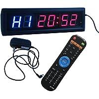 "Ledgital Crossfit Interval Timer Stopwatch Wall Clock w/ IR Remote Control(14""x4""x1.5"") UK Standard Plug"