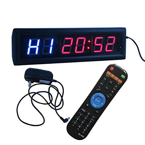 Ledgital - Orologio da parete crossfit con timer di intervalli programmabile, cronometro e telecomando IR - 35,5x 10,2x 3,8cm - Spina standard britannica