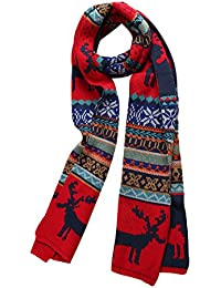 sourcingmap Unisex Warm Soft Thick Jacquard Weave Scarf Red-3