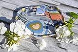 Spülschwamm aus Bio-Baumwolle, 2 Stück, Spüllappen Wischtuch reinigen, umweltfreundlich, ökologisch, spülen, abwaschen, Haushalt, Spültuch, runde Ecken, öko bio, Federn blau orange beige grün, 9x13 cm