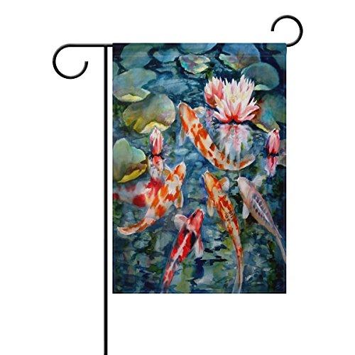 LIANCHENYI Japanese Koi Fish mit loctus Blumen doppelseitig Familie Flagge Polyester Outdoor Flagge Home Party Decro Garten Flagge 71,1x 101,6cm (Koi-saison)