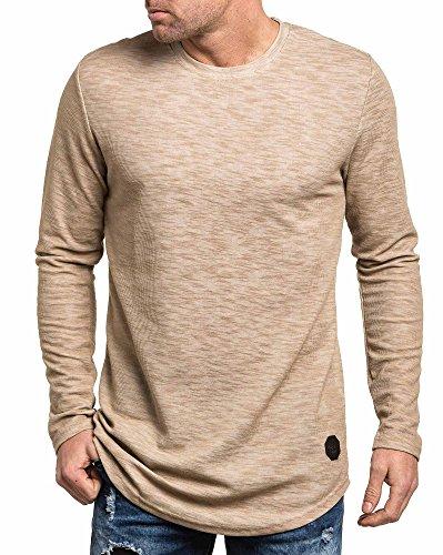 Project X - T-Shirt Mann lange Ärmel Übermaß baige Beige