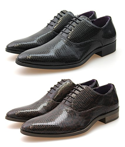 By Neki Men's Faux Snake Skin Leather Lace Up Formal Dress Shoes...