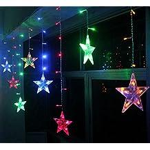 BLOOMWIN Estrella cortina de luz de hadas de la secuencia brillante iluminación 120 LED 12 estrellas 3M con 8 modos para la boda, árbol de navidad, patio, jardín, decoración de interior y exterior