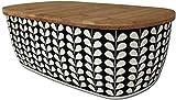 Koop Panera de bambú Negro y Crema con Tapa para Tabla de Cortar