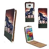 Handy Hülle für - Archos 50e / 50f Neon - Flip Tasche mit Kreditkartenfach - Flip Nano M Pferd Pony