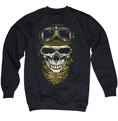 NG articlezz Pullover Biker Skull - Totenkopf Motorrad schwarz Herren Männer S-3XL