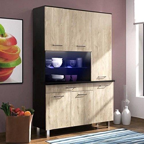 ECO Buffet 120 cm - Noir brillant et décor chene clair