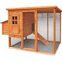 Deluxe Large Chicken Coop (Suitable For Up To 4 Birds) with Integrated Run & Cleaning Tray - (198 x 103 x 75cm)